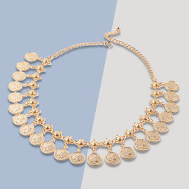 Dangling Coin Charm Necklace (Size 20 with Extender) in Yellow Gold Tone
