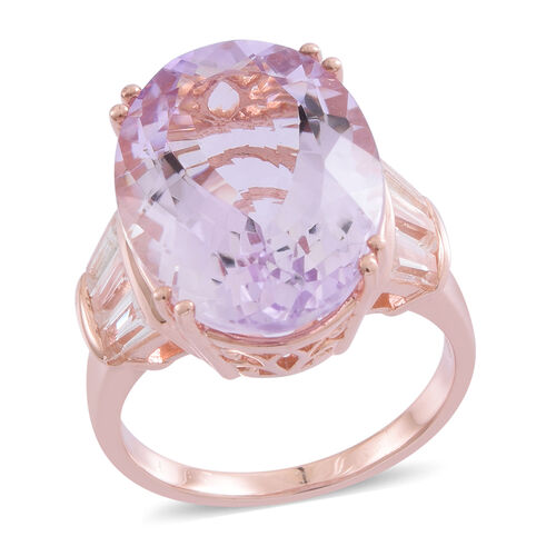 Limited Edition- Designer Inspired AAA Rose De France Amethyst (Ovl 20X15 mm), White Topaz Ring in Rose Gold Overlay Sterling Silver 17.000 Ct. Silver wt. 6.55 Gms.