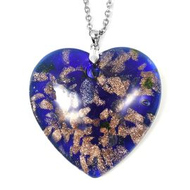 Blue  Murano Style Glass (Hrt 46x46 mm) Sterling Silver Pendant with 30 Inch Stainless Steel Chain