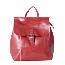 100% Genuine Leather Burgundy Colour Backpack with External Zipper Pocket (Size 30x26x13 Cm)