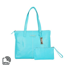 Union Code 100% Genuine Leather Turquoise Tote Bag and RFID Wristlet/Clutch Bag