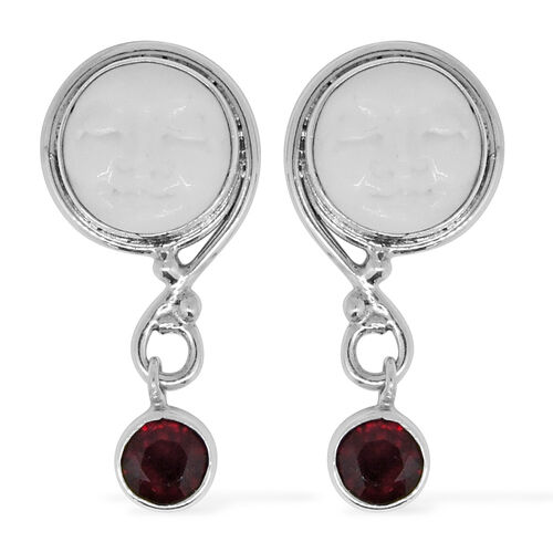 Royal Bali Collection OX Bone Moon Face (Rnd), African Ruby Earrings (with Push Back) in Sterling Silver 12.470 Ct.