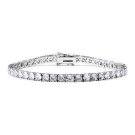 Simulated Diamond (Rnd) Bracelet (Size 7) in Silver Tone