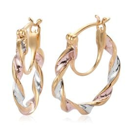 Designer Inspired- Tri Colour Platinum Overlay Twisted Hoop Earrings (with Clasp Lock) in Sterling Silver
