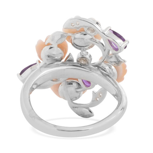 JARDIN COLLECTION - Pink Mother of Pearl, Amethyst and Natural White Cambodian Zircon Enameled Floral Ring in Rhodium Overlay Sterling Silver