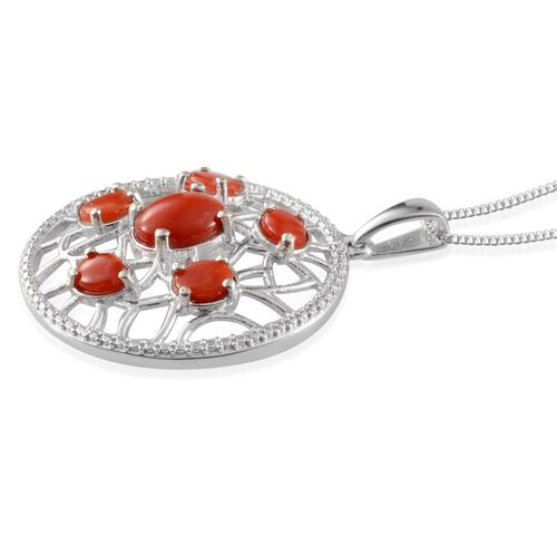 Mediterranean Coral (Ovl) Pendant with Chain in Platinum Overlay Sterling Silver 2.500 Ct.