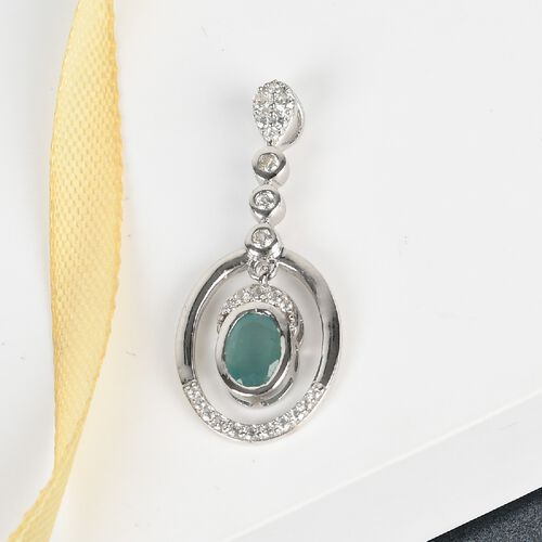 Grandidierite and Natural Cambodian Zircon Pendant in Platinum Overlay Sterling Silver 1.19 Ct.
