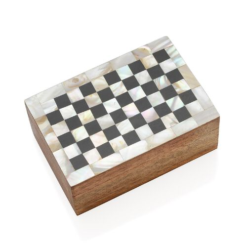 Artisan Crafted Handmade Inlay Mother of Pearl Checker Pattern Storage Box (Size 15x10x6 Cm) - Black