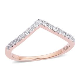 ILIANA 18K Rose Gold IGI Certified Diamond (Rnd) (SI G-H) Wishbone Ring 0.250 Ct.