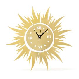 Golden Colour Sun Design Wall Clock