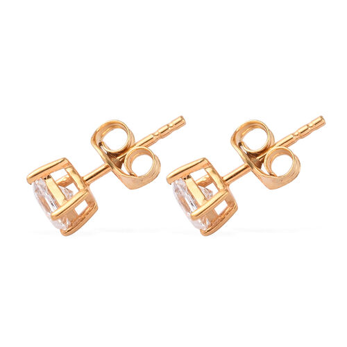 J Francis 14K Gold Overlay Sterling Silver Stud Earrings (with Push Back) Made with SWAROVSKI ZIRCONIA 0.78 Ct.