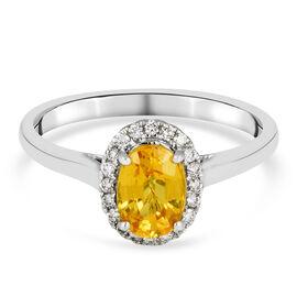 ILIANA 18K White Gold AAAA Yellow Sapphire and Diamond (G-H/SI) Halo Ring 1.25 Ct.