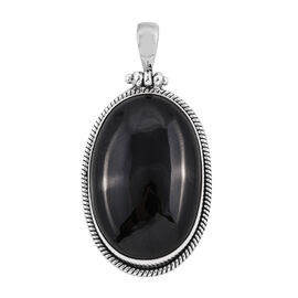 Royal Bali Collection Boi Ploi Black Spinel (Ovl 30x20 mm) Pendant in Sterling Silver 49.220 Ct, Silver wt 5.80 Gms.
