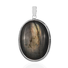 Royal Bali Collection Rare Size Labradorite (Ovl 40x30 mm) Pendant in Sterling Silver 100.23  Ct