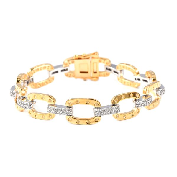 RACHEL GALLEY Natural White Cambodian Zircon Bracelet  in Two Tone Plated Sterling Silver 6.75 Inch