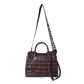 100% Genuine Leather Croc Embossed Tote Bag with Shoulder Strap (Size 28x13x21 Cm) - Brown Colour