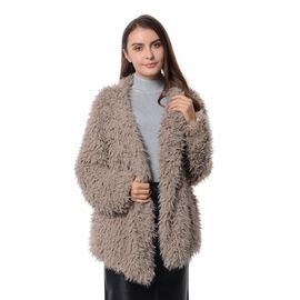 Faux Fur Long Sleeves Short Coat in Beige Colour