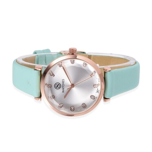 STRADA Japanese Movement White Austrian Crystal Studded Water Resistant Watch in Rose Gold Tone with Mint Green Colour Strap