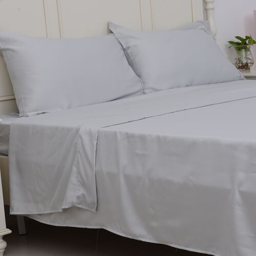 Double Size Set of 4- French Grey Colour Matt Satin Flat Sheet (Size 265x230 Cm), Fitted Sheet (Size 190x140x30 Cm) and 2 Pillow Cases (75x50 Cm)