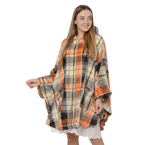 Check Pattern Flannel Hooded Wrap - Beige, Orange and Black