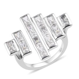 J Francis - Platinum Overlay Sterling Silver Ring Made with SWAROVSKI ZIRCONIA