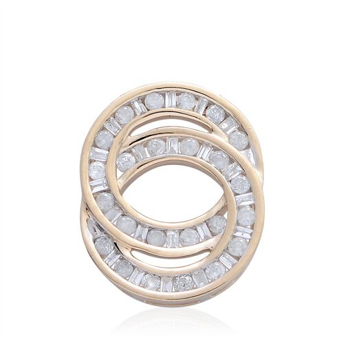 9K Y Gold SGL Certified Diamond (G-H/I3) (Rnd and Bgt) Interlocking Circles Pendant 0.500 Ct.