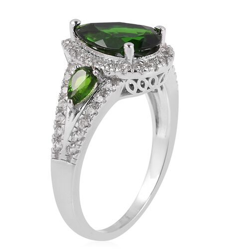 Collectors Edition- Russian Diopside (Very Rare Size Pear 12x8mm, 3.000 Ct.), Natural White Cambodian Zircon Ring in Rhodium Overlay Sterling Silver 4.500 Ct.
