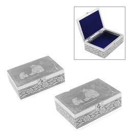 Set of 2 - MDF Panda Embossed Oxidized Storage Box (Size 18x13x6 Cm)