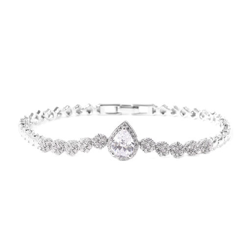 ELANZA Simulated Diamond Bracelet in Rhodium Plated Silver 8.80 Grams 7.5 Inch