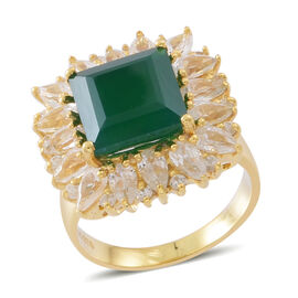Verde Onyx (Sqr 6.00 Ct), Natural White Cambodian Zircon Ring in 14K Gold Overlay Sterling Silver 10
