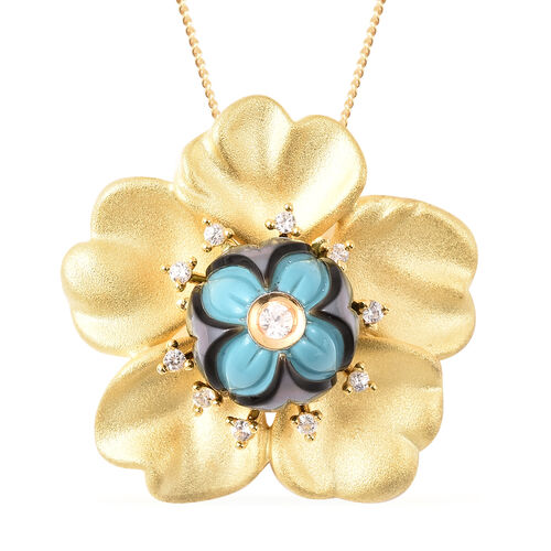 Galatea Pearl - Tahiti Pearl and Natural Cambodian Zircon Flower Design Carved Pendant with Chain (S