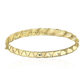 Italian Made - 9K Yellow Gold Diamond Cut Wave Bangle Gold Wt 3.25 Gms.(Size 7.5)