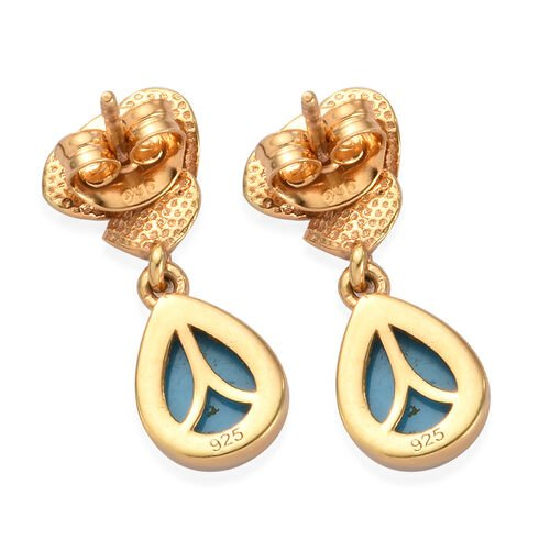 Arizona Sleeping Beauty Turquoise Drop Earrings in 14K Gold Overlay Sterling Silver 2.00 Ct.