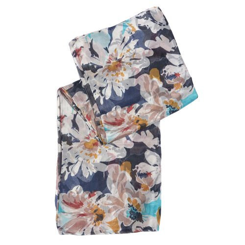 100% Mulberry Silk Navy and Multi Colour Floral Hand Screen Printed Scarf (Size 180X100 Cm)