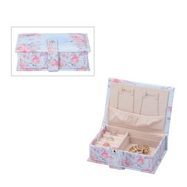 Portable Jewellery Ink Rose Pattern Book with Magnetic Button Lock (Size:15x10x4.5Cm) - Baby Blue an