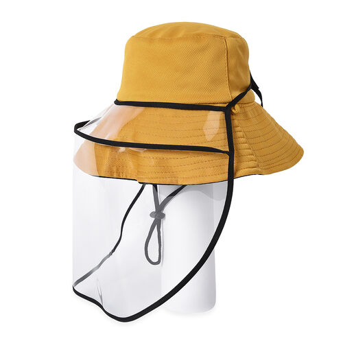 Bucket Protection Hat with Detachable Safety Protective Face Eye Shield Screen (Perimeter: 57Cm) - Yellow and Black