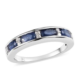 1.25 Ct Burmese Blue Sapphire and Diamond Half Eternity Band Ring in 9K White Gold 2.80 Grams