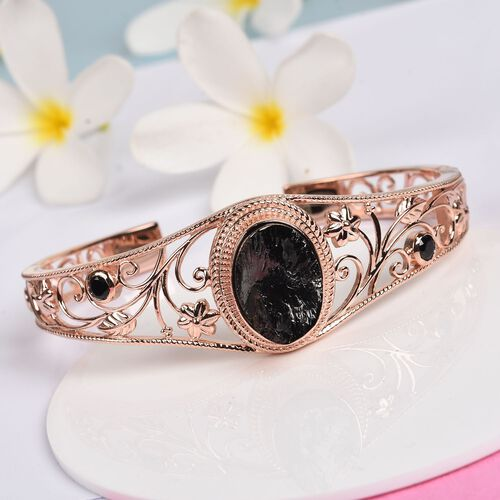 Elite Shungite and Boi Ploi Black Spinel Floral Magnetic Bangle (Size 7.5) in 14K Rose Gold Plated 9.50 Ct.