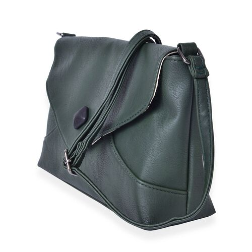 Dark Green Colour Envelope Design Crossbody Bag with Adjustable Shoulder Strap (Size 27X17.5X8 Cm)