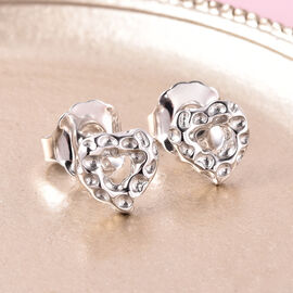 RACHEL GALLEY Rhodium Overlay Sterling Silver Heart Stud Earrings