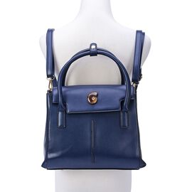 Super Bargain Price- Navy Colour Back Pack with Ammonite, Adjustable and Removable Shoulder Strap (Size 30x23x9 Cm)