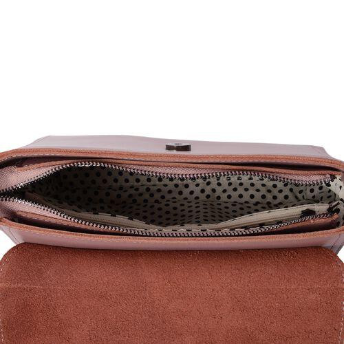 100% Genuine Leather Pink Colour Shoulder Bag with External Zipper Pocket and Removable Shoulder Strap (Size 23x17x10.5 Cm)