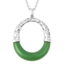 RACHEL GALLEY 19 Carat Green Jade Pendant with Chain in Rhodium Plated Sterling Silver 12.52 Grams