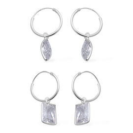 ELANZA - Set of 2 Simulated Diamond Hoop Earrings in Sterling Silver, Silver wt 4.00 Gms