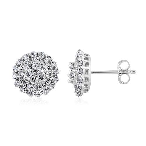 1 Carat Diamond Cluster Stud Earrings in 14K White Gold 2.4 Grams