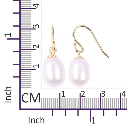 Freshwater Pearl (Drop 10-11mm) Hook Earrings in Yellow Gold Overlay Sterling Silver