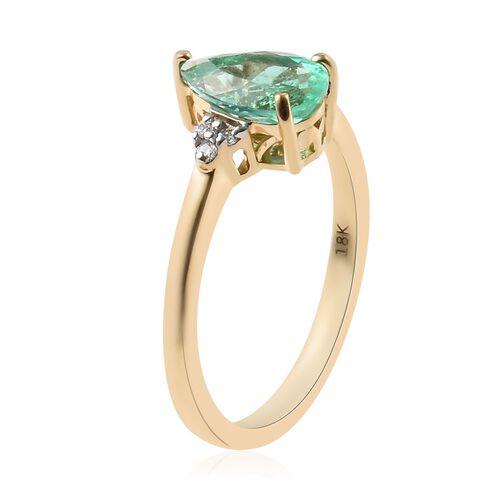 ILIANA 18K Yellow Gold AAA Boyaca Colombian Emerald and Diamond (SI/G-H) Ring 1.19 Ct.