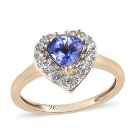 1.41 Carat Tanzanite and Natural White Cambodian Zircon Heart Halo Ring in 9K Gold