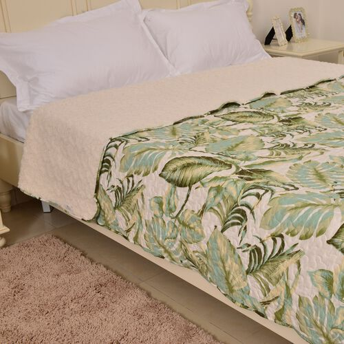 King Size Sherpa Quilt - Green, Cream and Multi Tropical Leaves Print (Size 260X240 Cm)