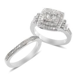 Set of 2  0.75 Ct Diamond Cluster Ring in Platinum Plated Silver 6.56 Grams